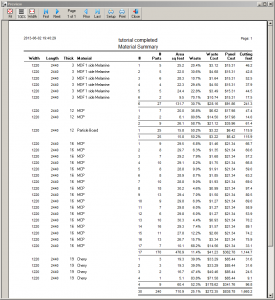CutMaster Summary Report